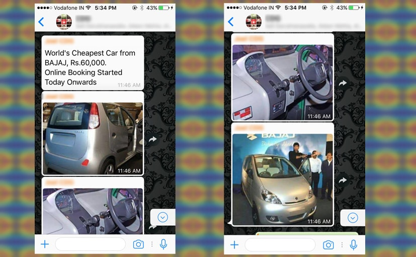 फर्जी निकला ₹ 60,000 में बजाज की कार वाला दावा, कही जा रही दुनिया की सबसे सस्ती कार