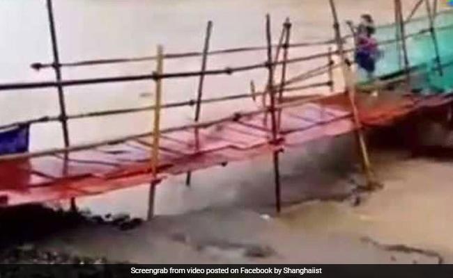 Watch: Woman Runs Across Wobbly Bridge. Seconds Later, It Is Swept Away