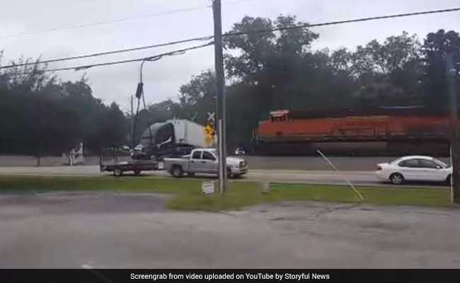 Terrifying Moment Train Crashes Into Truck At Railway Crossing. Watch Here