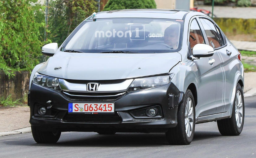 Longer and wider Honda City test mule hiding future Honda hybrid technology spied testing