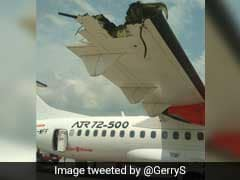 2 Passenger Planes Collide On Runway. Wing Destroyed.