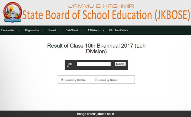 JKBOSE Class 10th Bi-Annual 2017 Leh Division Results Declared @ Jkbose.co.in