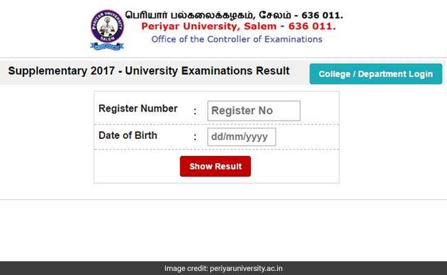 Periyar University Supplementary Result 2017 Declared For UG