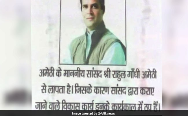 'Rahul Gandhi missing' posters come up in Amethi, Congress blames BJP, RSS