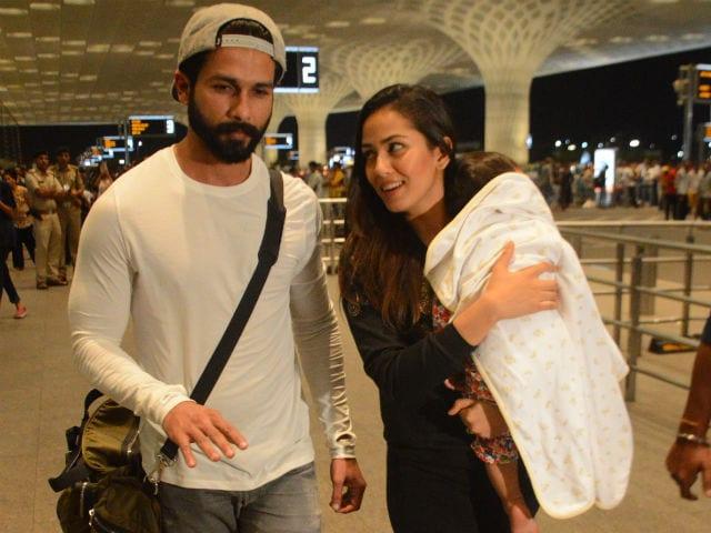 Shahid Kapoor, Mira And Baby Misha Fly Out Of Mumbai For A Family Vacation. See Pics