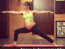 Pregnant Soha Ali Khan Strikes A Warrior Yoga Pose