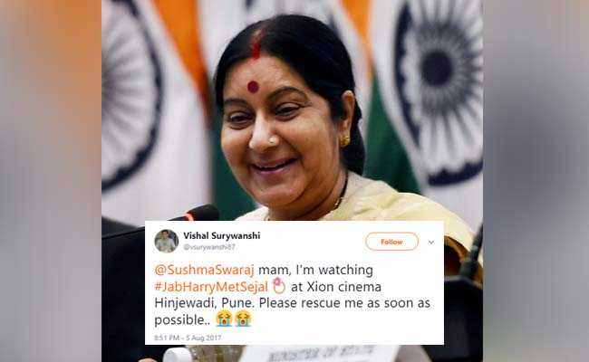 Rescue Me, Man Watching 'Jab Harry Met Sejal' Tweets Sushma Swaraj