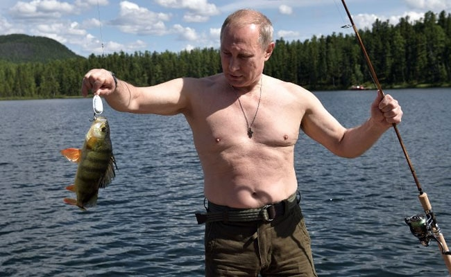 Vladimir Putin Bares Chest On Fishing Trip To Remote Siberian Lake