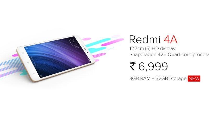Xiaomi Redmi 4A का ज़्यादा रैम व स्टोरेज वाला वेरिएंट लॉन्च