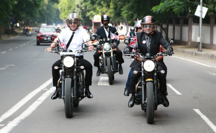 Triumph Motorcycles India MD Vimal Sumbly riding with actor Amit Sadh