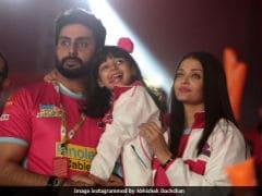 Pics: Aishwarya Rai Bachchan And Aaradhya Cheer For Abhishek's Jaipur Pink Panthers