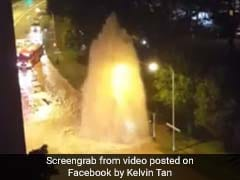 Watch: Pipe Burst Creates 3-Storey-High Water Fountain, Floods Busy Road