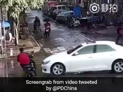 On Camera, Biker Hit By Car Flips Into Air, Lands On Feet