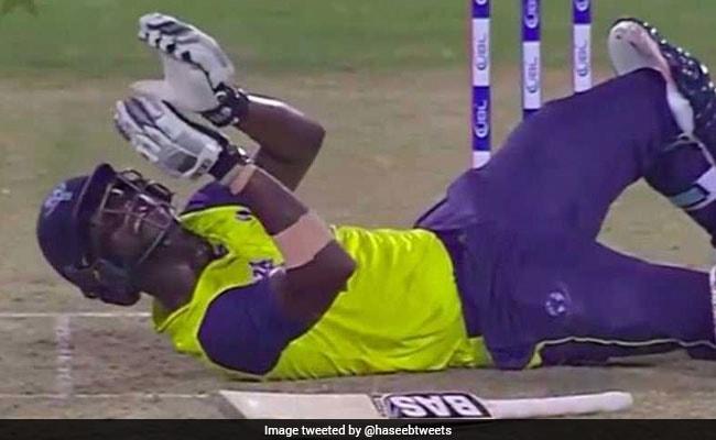 पाकिस्तानी गेंदबाज हसन अली के यॉर्कर पर गिरने के बावजूद डेरेन सैमी ने दी इस अंदाज में प्रतिक्रिया..VIDEO