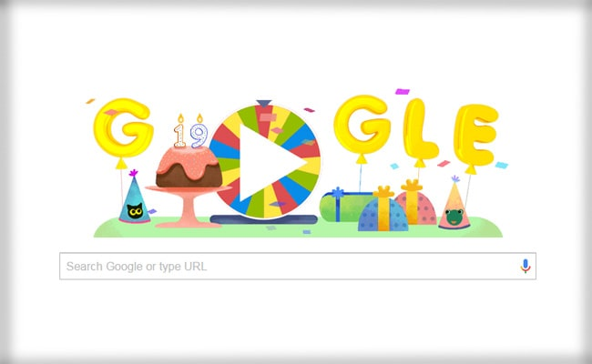 Image result for Google celebrates its 19th birthday with a special spinning wheel doodle
