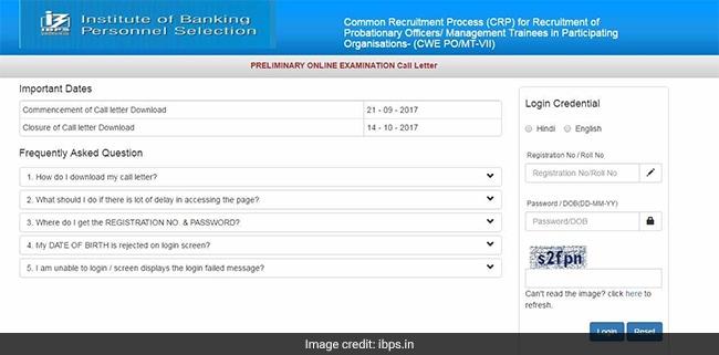 ibps po admit card 2017