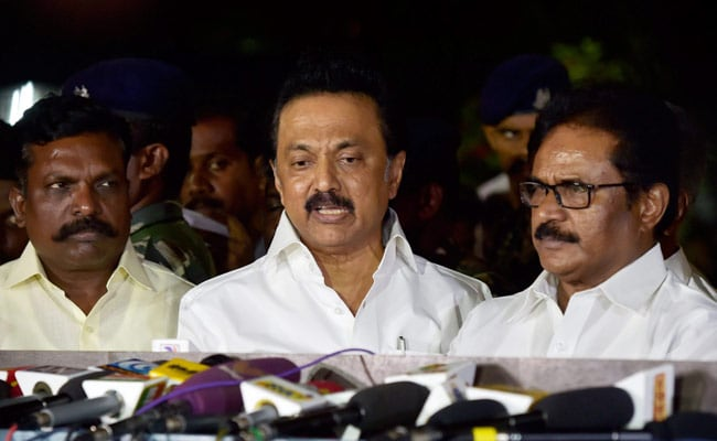 "Mr. MK Stalin alleged that ruling AIADMK ""lost its majority"" with the dissent of 21 MLAs"