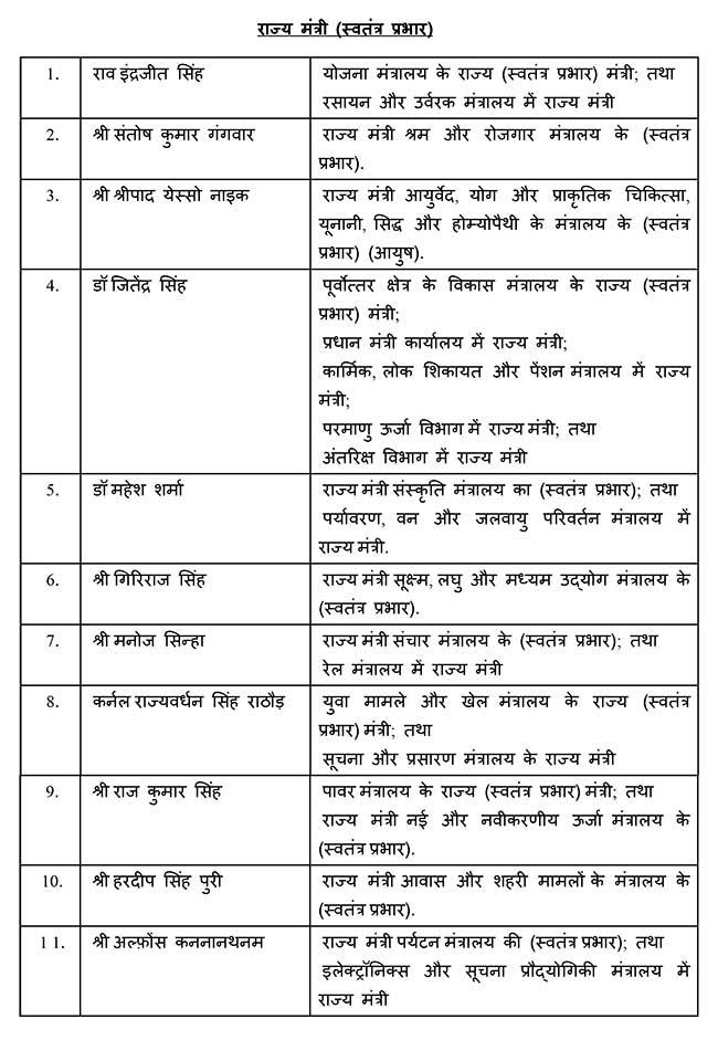 modi cabinet new list 2