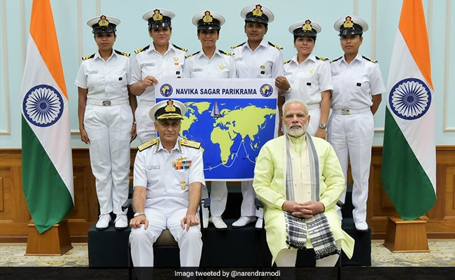 PM Narendra Modi Wishes Well To Navy's All-Women Around-The Globe Mission