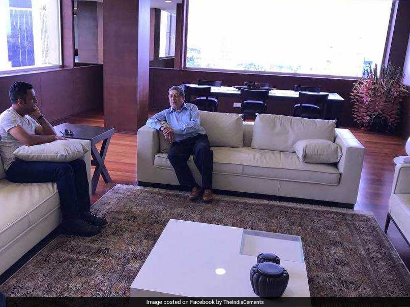 MS Dhoni Visits India Cements Office Post Chennai ODI, Meets Former BCCI President N Srinivasan