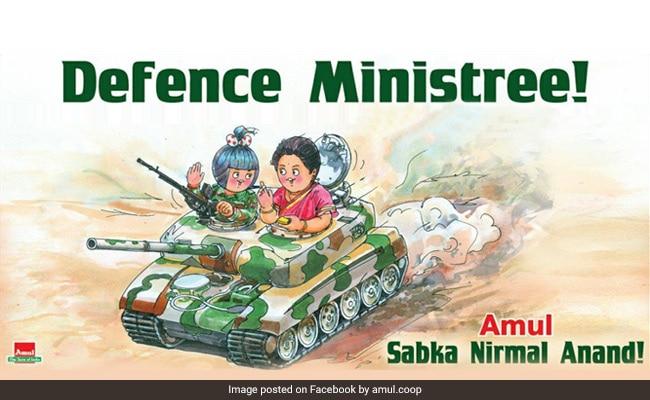 रक्षा मंत्री निर्मला सीतारमण को अमूल का रचनात्मक सम्मान- 'डिफेंस मिनिस्त्री'