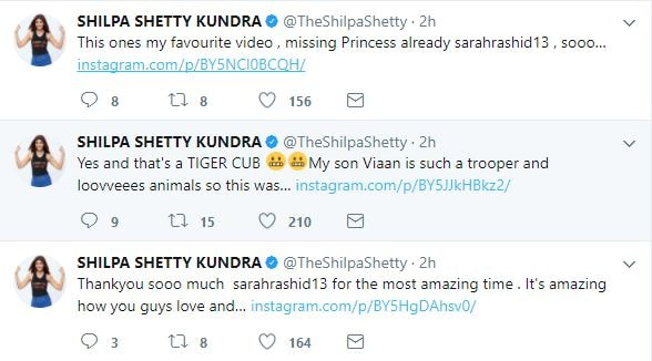 Image result for Shilpa Shetty and her son Viaan ,interact with exotic animals ,delete all three videos
