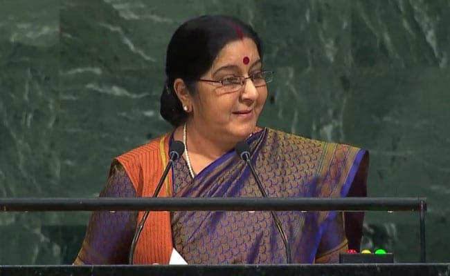 sushma swaraj at un 650