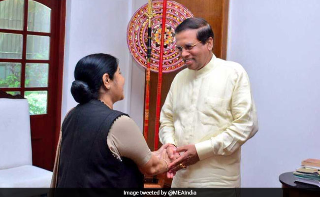 Sushma Swaraj Meets Sri Lankan President Sirisena, Discusses Bilateral Ties
