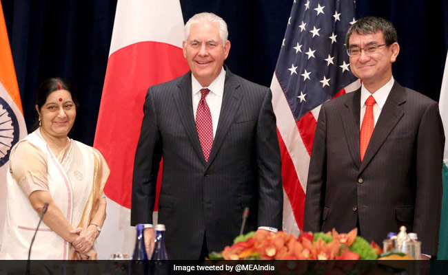 Sushma Swaraj Holds Trilateral Talks With US, Japan Counterparts