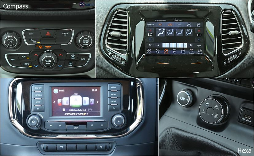 tata hexa vs jeep compass infotainment system