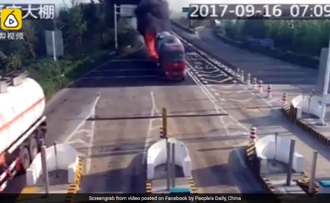 Watch: Burning Truck Drives 3 kms On Highway Before Finding Help