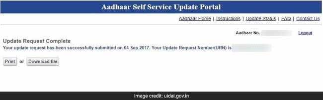 update aadhaar mobile uidai website