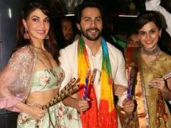 Navratri 2017: <i>Judwaa 2</i>'s Varun Dhawan, Taapsee Pannu And Jacqueline Fernandez Have An 'EPIC' <i>Dandiya</i> Night