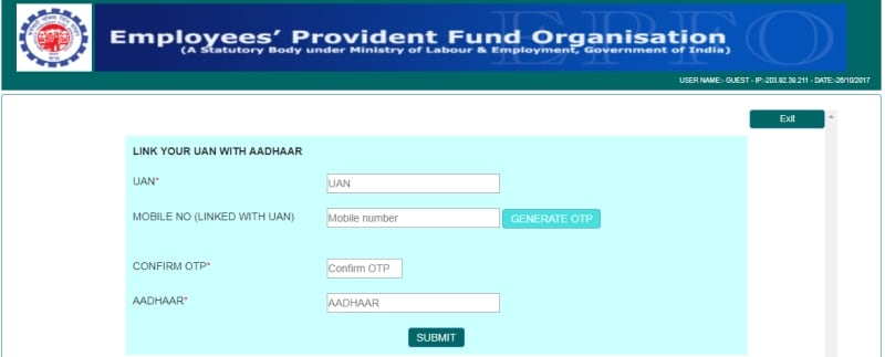 aadhar epfo link details page