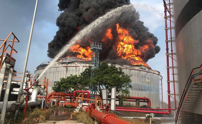 20 Hours Later Mumbai Butcher Island Fuel Tank Fire Still Burns On