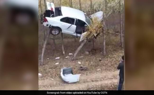VIDEO: पहले कभी ऐसा देखा नहीं होगा, हवा में उड़कर दो पेड़ों के बीच जा फंसी कार