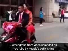 Watch: Food Delivery Man Gets Married On Scooter