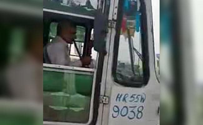 Haryana Roadways Driver Smokes Hookah While Driving, Caught On Camera