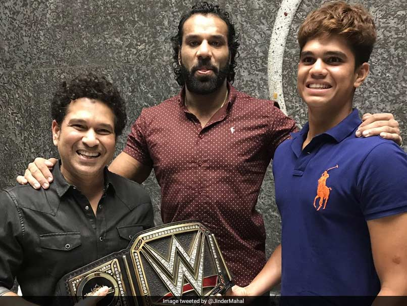 WWE Champion Jinder Mahal meets Sachin Tendulkar in India