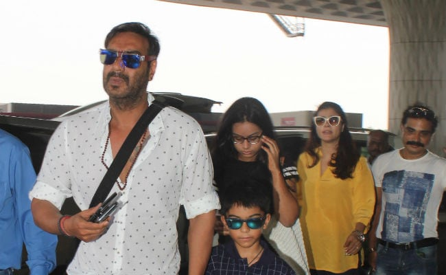 Kajol Ajay Devgn And Kids Off For A Family Vacation See Pics