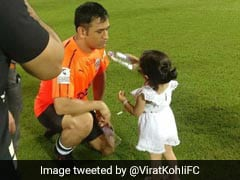 MS Dhoni's Daughter Ziva Carries Drinks For Dad In Celebrity Clasico