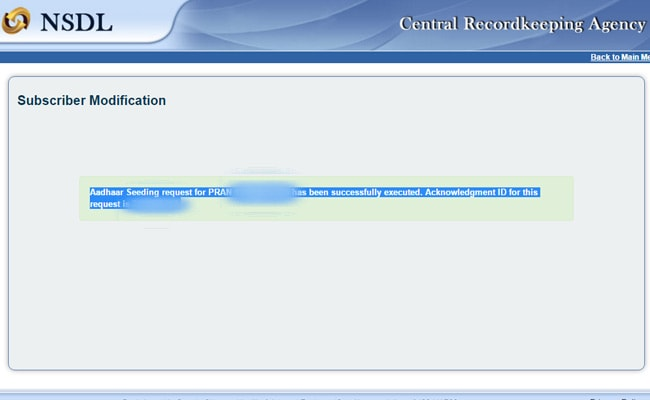 How To Link Nps Account With Aadhaar Card Number Online