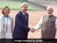 Italian PM Paolo Gentiloni Arrives In Delhi, Meets PM Modi
