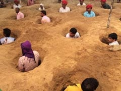 Buried In Mud, Rajasthan Farmers Protest Over Land Compensation