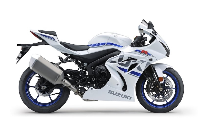 The 2018 GSX-R1000 gets new white and black colours as well as new graphics