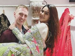 Here Are Aashka Goradia And Brent Goble's Sangeet Outfits