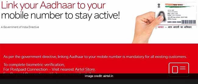 airtel aadhaar sim linking airtel website