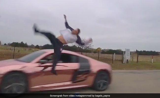 Vlogger's Backflip Stunt On Car Goes Wrong. He Gets Back Up In Seconds