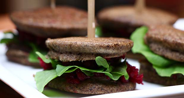 Buckwheat Blinis Sandwich with Beetroot and Feta