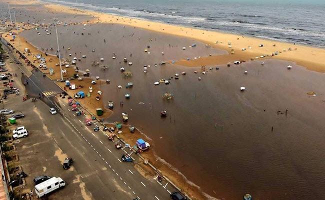 chennai rains beach pti
